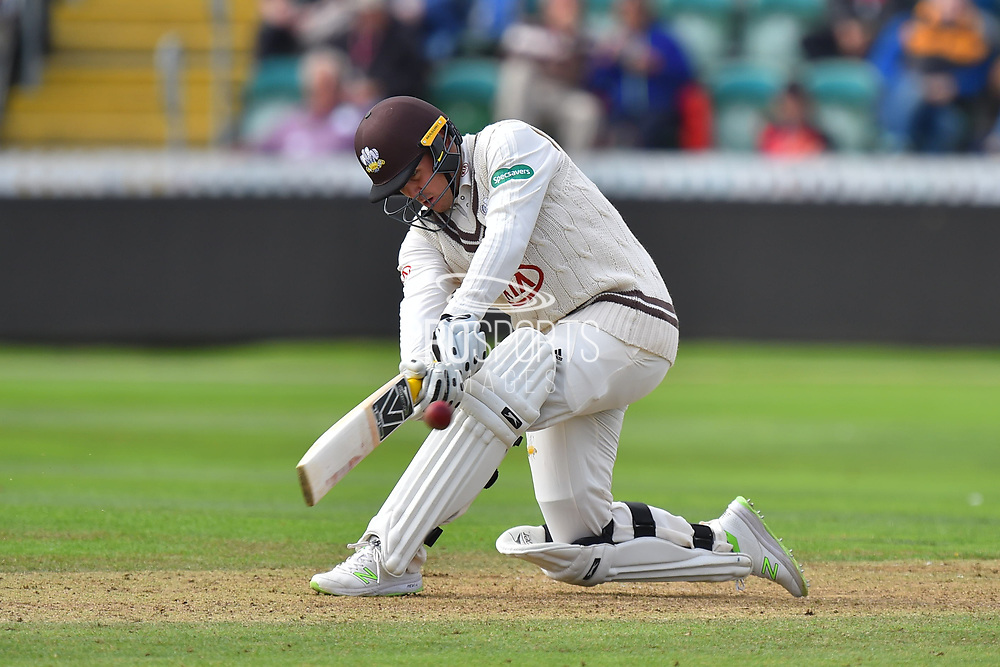 Jason Roy of Surrey hits the ball over the boundary for six runs during the opening day of the Specsavers County Champ Div 1 match between Somerset County Cricket Club and Surrey County Cricket Club at the Cooper Associates County Ground, Taunton, United Kingdom on 18 September 2018.