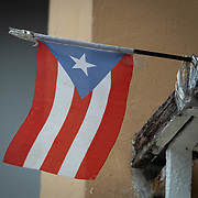 JULY 21, 2018---ARECIBO, PUERTO RICO---<br /> Taped flag in a house in the center of the town.<br /> (Photo by Angel Valentin/Freelance)