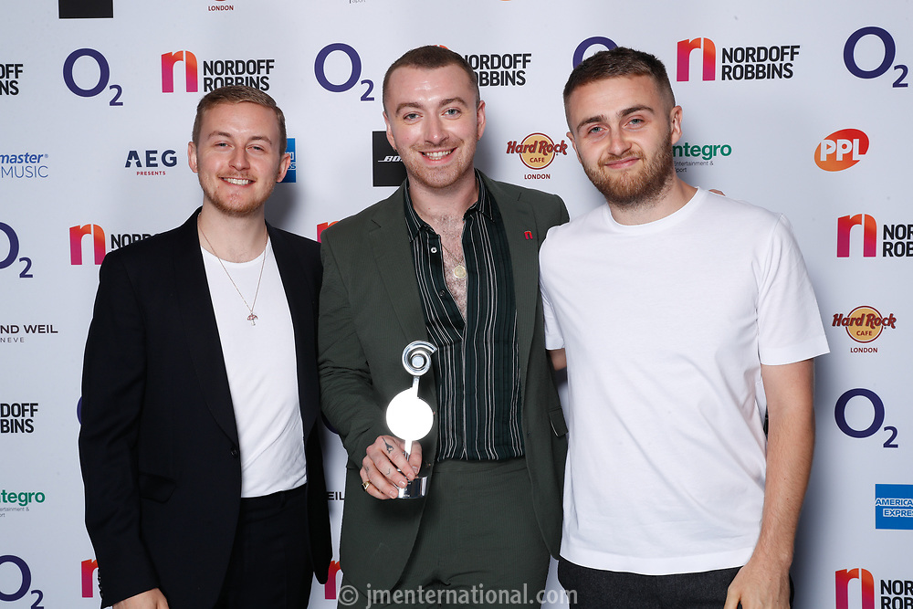 Sam Smith poses backstage with Disclosure during the O2 Silver Clef Awards 2019, Grosvenor House, London, UK, Friday 05 July 2019<br /> Photo JM Enternational