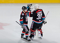 KELOWNA, CANADA, OCTOBER 16 - Riley Stadel #3 celebrates a hat trick with Jordon Cooke #30 of the Kelowna Rockets against the Lethbridge Hurricanes on Wednesday, October 16, 2013 at Prospera Place in Kelowna, British Columbia (photo by Marissa Baecker/Getty Images)***Local Caption***