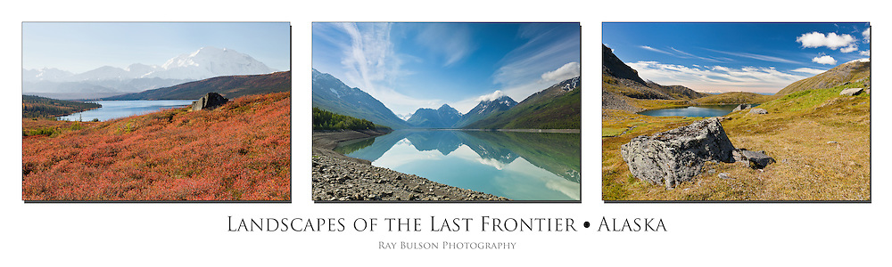 Triptych of Denali National Park, Eklutna Lake, and Hatcher Pass in Alaska.