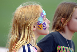 29 July 2016: A young girl sports some face painting during a Frontier League Baseball game between the Lake Erie Crushers and the Normal CornBelters at Corn Crib Stadium on the campus of Heartland Community College in Normal Illinois