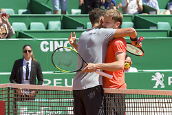April 20, 2018 - Monaco, France - Grigor Dimitrov (Bulgarie) - David Goffin  (Credit Image: © Panoramic via ZUMA Press)