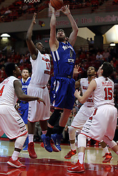 31 December 2014:  Jake Kitchell goes up for a shot while surrounded by Bobby Hunter, John Jones, Deontae Hawkins and Justin McCloud during an NCAA Division 1 Missouri Valley Conference (MVC) men's basketball game between the Indiana State Sycamores beat the Illinois State Redbirds 63-61 at Redbird Arena in Normal Illinois