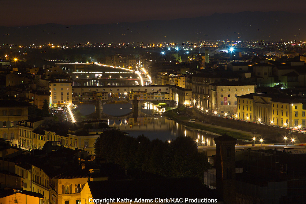 Florence at sunset, from  piazzale michelangelo, with Ponte Vecchio, Firenza, Italy.