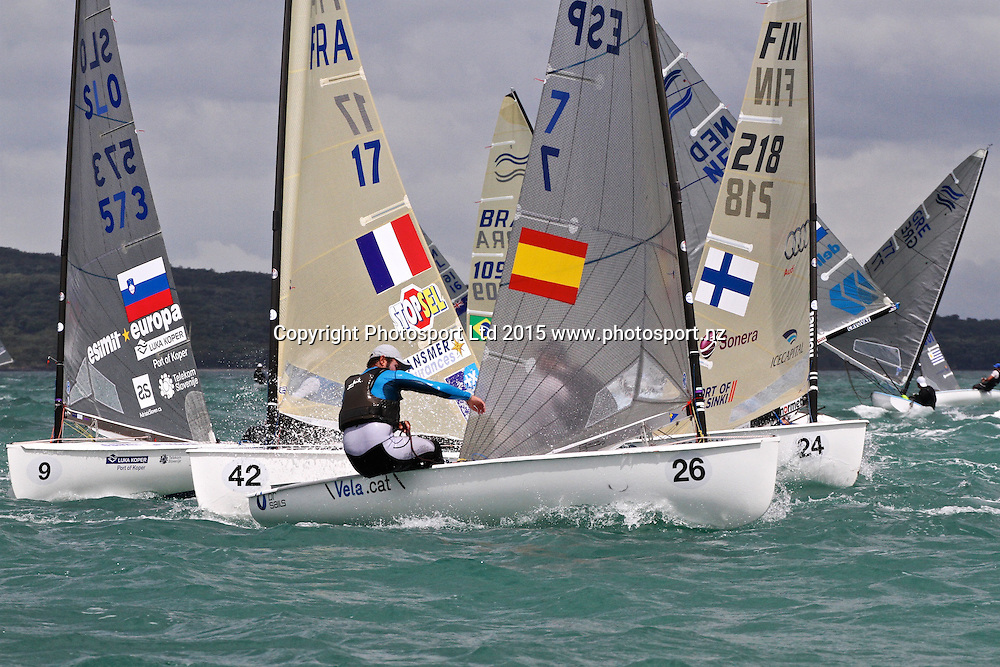 Upwind action - Race 9  Finn Gold Cup Takapuna