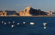 Houseboats are anchored at the main dock area of Lake Powell in Utah, near the town of Page, Arizona, June 22, 2006.