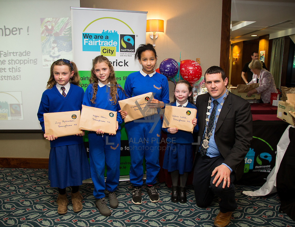 22.11.2016                   <br /> Christmas has come early for two Limerick students after they were named overall winners of the 2016 Limerick City Fairtrade Christmas Card Competition at a ceremony in The Savoy Hotel.<br /> <br /> Receiving their prizes from Deputy Mayor Cllr. Frankie Daly were, Lucy Richardson, Megan Ahern, Vimbai Sheehan and Valerie Walsh, Donoughmore N.S.. Picture: Alan Place