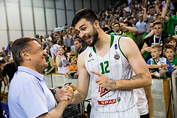 Zoran Jankovic and Nikola Jankovic #12 of KK Union Olimpija after basketball match between KK Union Olimpija and KK Rogaska in 2nd Final game of Liga Nova KBM za prvaka 2016/17, on May 19, 2017 in Hala Tivoli, Ljubljana, Slovenia. Photo by Vid Ponikvar / Sportida