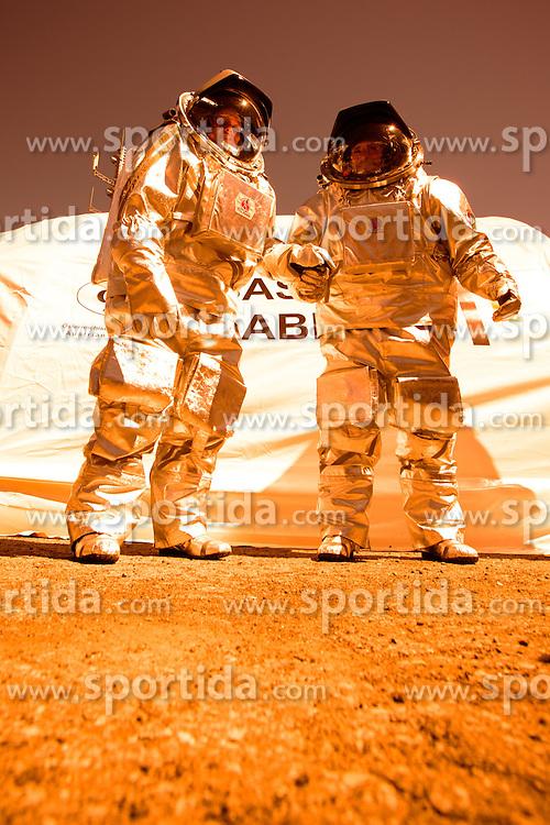 03.04.2015, Feichten im Kaunertal, AUT, &Ouml;sterreichisches Weltraum Forum, AMADEE 15 Mission. Mars Feldsimulation am Kaunertaler Gletscher. AMADEE-15 dient als Analogmission f&uuml;r zuk&uuml;nftige bemannte Expeditionen zu den Eisregionen des Mars. im Bild v.l. Analogastronauten DR Carmen K&ouml;hler, Inigo Munoz Elorza // during the AMADEE-15 Mars Simulation of Austrian Space Forum. The international AMADEE-15 mission will be the highest ever conducated simulation of a human Mars mission worldwide. Rock glaciers at the Kaunertal Alps will serve as Mars analog site. AMADEE-15 is an analog mission for future human expeditions to ice regions on Mars. Kaunertal, Austria on 2015/08/03. EXPA Pictures &copy; 2015, PhotoCredit: EXPA/ Johann Groder<br /> <br /> ***** ACHTUNG BILD WURDE MIT DIGITALEN FILTERTECHNIKEN VERAENDERT / NOTE, THE PICTURE HAS CHANGED WITH DIGITAL FILTERING *****