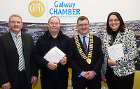At the launch of the 'Work Experience agreement' between the Galway Chamber of Commerce (GCC) and Galway City Partnership, (GCP) were  Peter Salmon, Chief Officer with the local Community Development Committee in Galway City Council, Tommy Flaherty Chairperson (GCP), Conor O'Dowd, President Galway Chamber, Helen Kelly Dohas don Oige Training Centre  .Photo:Andrew Downes, xposure