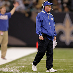2009 October 18: New York Giants head coach Tom Coughlin on the sideline during the second quarter against the New Orleans Saints at the Louisiana Superdome in New Orleans, Louisiana.