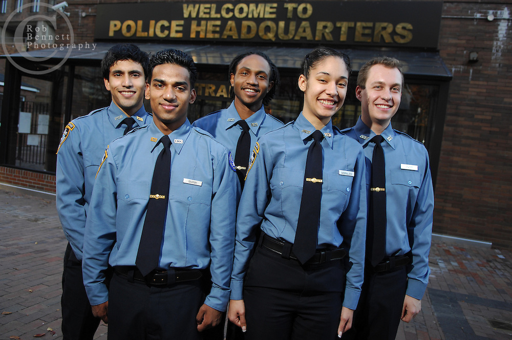 (L to R)  Michael Checa, Mohammed Manik, Tremayne Craigg, Amanda Morales, and Michael Levoff and are members of the NYPD Police Cadet Corps program. They are photographed outside of NYPD Headquarters at One Police Plaza in lower Manhattan.
