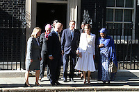 Prime Minister David Cameron, UN Special Envoy Angelina Jolie and Foreign Secretary William Hague met at 10 Downing Street on the opening day of the global conference on preventing sexual violence in conflict, 10 Downing Street, London UK, 10 June 2014, Photo by Richard Goldschmidt