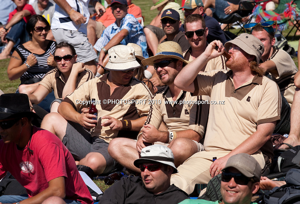 Beige brigade fans in crowd during day one of the 2nd cricket test match between NZ Black Caps and Australia, at Seddon Park, Hamilton, 27 March 2010. Photo: Stephen Barker/PHOTOSPORT