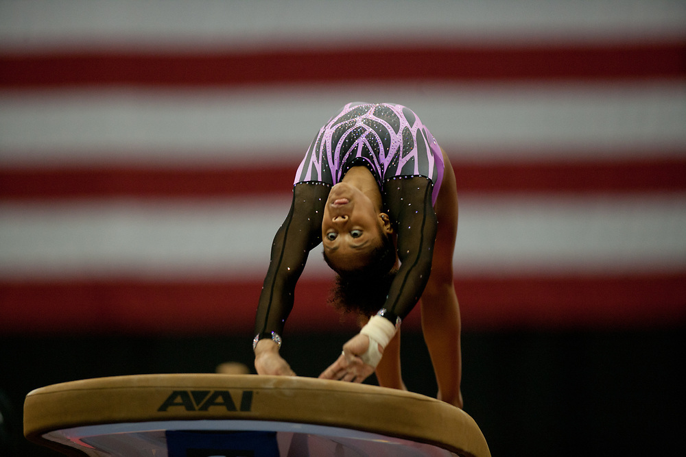USA Gymnastics GK Classic - Schottenstein Center, Columbus, OH - July 28th, 2018.  Emma Malabuyo competes in the vault  at the Schottenstein Center in Columbus, OH; in the USA Gymnastics GK Classic in the senior division. Simone Biles won the allround with Riley McCusker second and Morgan Hurd third. - Photo by Wally Nell/ZUMA Press