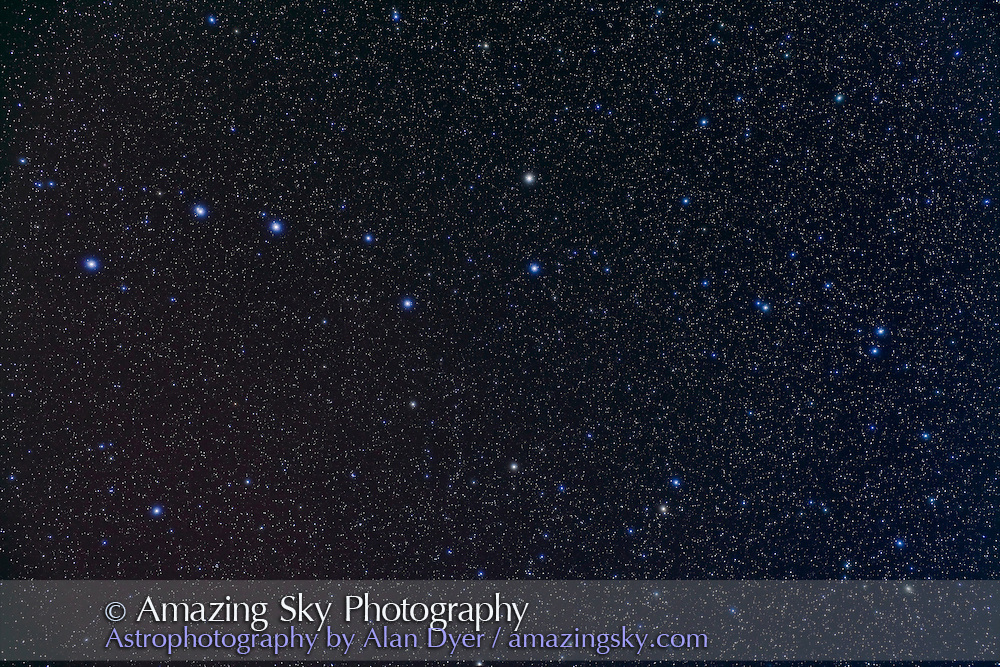 Ursa Major with Big Dipper with Canon 5D MkII and 35mm Canon L-series lens at f/4 for stack of 4 x 4 minutes at ISO 800 and 4 x 4 minutes with Kenko Softon filter for star glows. Taken Jan 15, 2010.