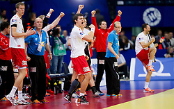 Players of Denmark celebrate during handball match between Denmark and Spain in 1st Semifinal at 10th EHF European Handball Championship Serbia 2012, on January 27, 2012 in Beogradska Arena, Belgrade, Serbia. Denmark defeated Spain 25-24. (Photo By Vid Ponikvar / Sportida.com)