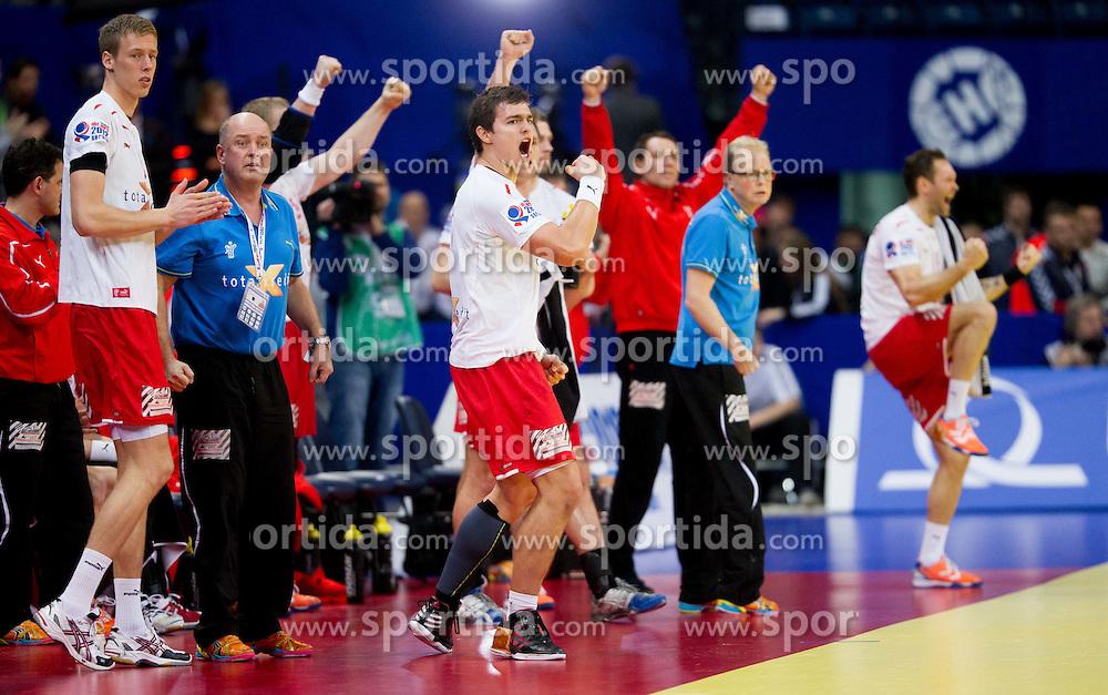 Players of Denmark celebrate during handball match between Denmark and Spain in 1st Semifinal at 10th EHF European Handball Championship Serbia 2012, on January 27, 2012 in Beogradska Arena, Belgrade, Serbia. Denmark defeated Spain 25-24. (Photo By Vid Ponikvar / Sportida.com)