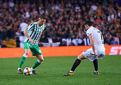 February 28, 2019 - Valencia, U.S. - VALENCIA, SPAIN - FEBRUARY 28: Joaquin Sanchez, midfielder of Real Betis Balompie competes for the ball with Gonalo Guedes, midfielder of Valencia CF during the Copa del Rey match between Valencia CF and Real Betis Balompie at Mestalla stadium on February 28, 2019 in Valencia, Spain. (Photo by Carlos Sanchez Martinez/Icon Sportswire) (Credit Image: © Carlos Sanchez Martinez/Icon SMI via ZUMA Press)