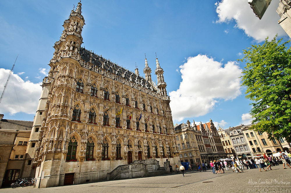 The Stadhuis, or town hall, of Leuven, Belgium, dominates the Grote Markt or main square.