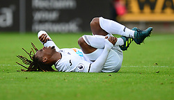 Renato Sanches of Swansea City holds his ankle on the floor after tackle. - Mandatory by-line: Alex James/JMP - 10/09/2017 - FOOTBALL - Liberty Stadium - Swansea, England - Swansea City v Newcastle United - Premier League