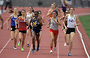 Makayla Brown of J.W. North defeats Fatima Cortes of Great Oak to win the girls 800m, 2:11.30 to 2:11.40 during the 2019 CIF Southern Section Masters Meet in Torrance, Calif., Saturday, May 18, 2019.