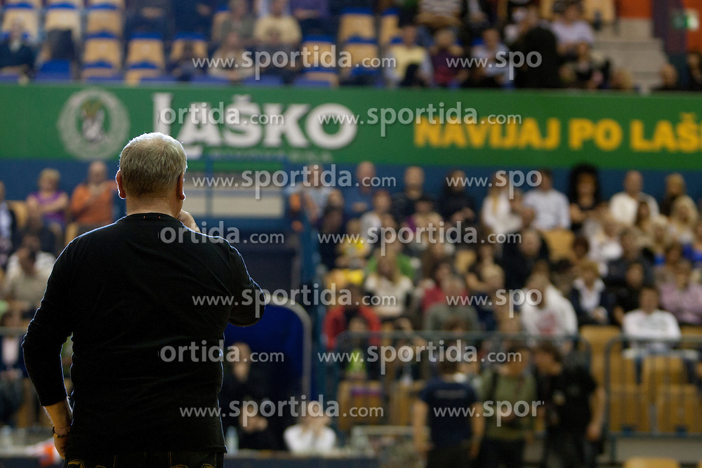 during memorial game between National handball team of Slovenia and RK Celje Pivovarna Lasko as a tribute to former Slovenian and Croatian handball palyer Iztok Puc. He was one of the world's top handball players of the 1980s and 1990s. He died of leukemia on October 20, 2011 during treatment in USA, 46-years old. The humanitarian event was held on November 5, 2011 in Arena Zlatorog, Celje, Slovenia. (Photo by Urban Urbanc / Sportida Photo Agency)