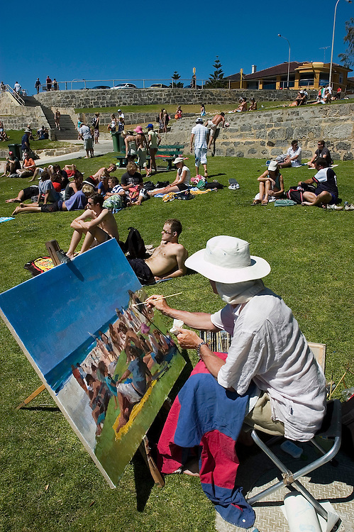 Artist Nick Botting puts what he sees at Cottesloe Beach down on canvas. Western Australia 17/12/05.Photograph David Dare Parker for The New York Times