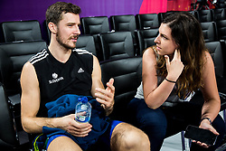 Goran Dragic of Slovenia with journalist at practice session of Team Slovenia 1 day before final match against Serbia at Day 17 of FIBA EuroBasket 2017 at Sinan Erdem Dome in Istanbul, Turkey on September 16, 2017. Photo by Vid Ponikvar / Sportida