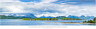 Composite panorama of Chiniak Bay and the mountains near the city of Kodiak on Kodiak Island in Southwestern Alaska. Summer. Afternoon.