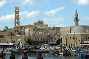 Israel, Acre, General view of the old city. The old harbour in the foreground