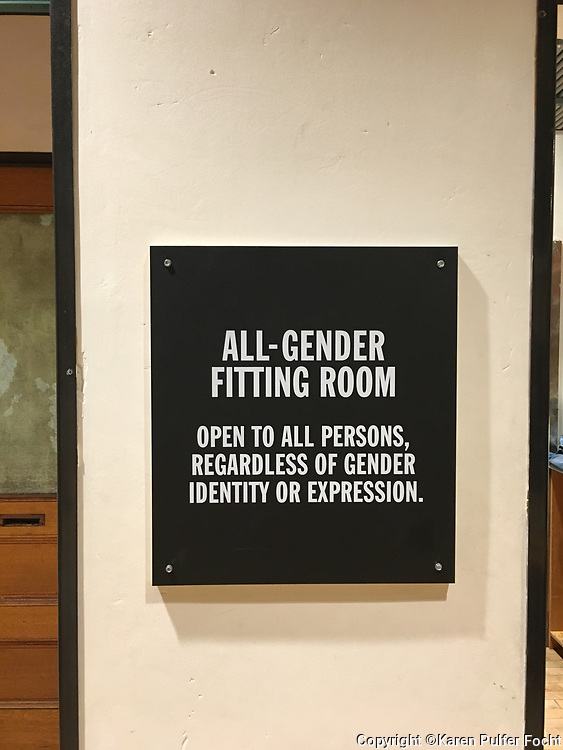 """A Manhattan shop has All-Gender Fitting Rooms. The All-Gender Fitting Rooms are """"open to all persons, regardless of identity or expression."""""""