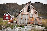 Buildings in the mostly derelict village of Mostad, Vaeroy Island, Lofoten Islands, Norway.