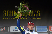 Sykkel<br /> 08.04.2015<br /> Foto: PhotoNews/Digitalsport<br /> NORWAY ONLY<br /> <br /> Kristoff Alexander of Katusha celebrates the victory during the podium ceremony of the Flanders Classics Scheldeprijs 2015 cycling race with start in Antwerp and finish in Schoten, Belgium.