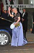 28.APRIL.2011. LONDON<br /> <br /> QUEEN MARGRETHE II OF DENMARK AT THE PRE-WEDDING DINNER AT THE MANDARIN ORIENTAL HOTEL, HYDE PARK, KNIGHTSBRIDGE, LONDON.<br /> <br /> BYLINE: EDBIMAGEARCHIVE.COM<br /> <br /> *THIS IMAGE IS STRICTLY FOR UK NEWSPAPERS AND MAGAZINES ONLY*<br /> *FOR WORLD WIDE SALES AND WEB USE PLEASE CONTACT EDBIMAGEARCHIVE - 0208 954 5968*