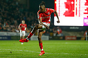 Charlton Athletic midfielder Joe Aribo (17) shoots during the EFL Sky Bet League 1 second leg Play-Off match between Charlton Athletic and Doncaster Rovers at The Valley, London, England on 17 May 2019.