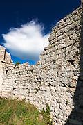 Wall and cloud, St. Michael's Fort (13th Century Venetian ruins) Ugljan Island, Dalmatian Coast, Croatia