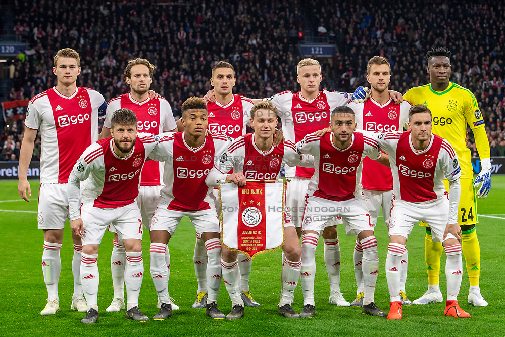 10-04-2019 NED: Champions League AFC Ajax - Juventus,  Amsterdam<br /> Round of 8, 1st leg / Matthijs de Ligt #4 of Ajax, Daley Blind #17 of Ajax, Dusan Tadic #10 of Ajax, Donny van de Beek #6 of Ajax, Joel Veltman #3 of Ajax, Andre Onana #24 of Ajax, Lasse Schone #20 of Ajax, David Neres #7 of Ajax, Frenkie de Jong #21 of Ajax, Hakim Ziyech #22 of Ajax, Nicolas Tagliafico #31 of Ajax