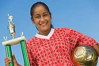 Teenage Girl with Soccer Trophy
