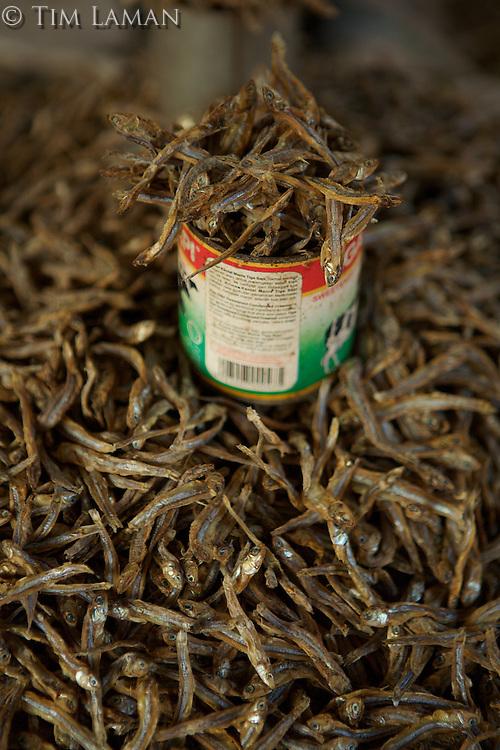 Market in Tobelo town, Halmahera Island, Indonesia.  <br />Detail of dried fish.