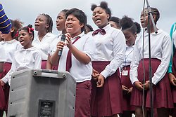 "Joriz Parohinog belts out a solo with the Addelita Cancryn High School Concert Choir directed by Malvern Gumbs.  The Virgin Islands National Park Service presents the 26th Annual Folk-life Festival ""Celebrating Transfer Day from the Danish West Indies to the United States Virgin Islands""  Annaberg Sugar Plantation Ruins.  23 February 2017.  © Aisha-Zakiya Boyd"