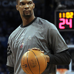 Jun 12, 2012; Oklahoma City, OK, USA;  Miami Heat power forward Chris Bosh warms-up prior to facing the Oklahoma City Thunder in game one in the 2012 NBA Finals at the Chesapeake Energy Arena.  Mandatory Credit: Derick E. Hingle-US PRESSWIRE