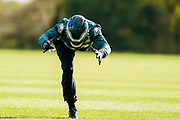 Philadelphia Eagles Zach Ertz TE (86) warms up during the press, training and media day for Philadephia Eagles at London Irish Training Ground, Hazelwood Centre, United Kingdom on 26 October 2018. Picture by Jason Brown.