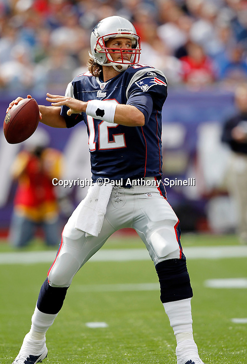New England Patriots quarterback Tom Brady (12) throws a pass during the NFL regular season week 3 football game against the Buffalo Bills on September 26, 2010 in Foxborough, Massachusetts. The Patriots won the game 38-30. (©Paul Anthony Spinelli)