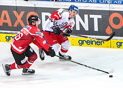 13.04.2019, Keine Sorgen Eisarena, Linz, AUT, Euro Hockey Challenge, Österreich vs Tschechien, Länderspiel, im Bild v.l. Stürmer Benjamin Baumgartner (AUT), Patrik Zdrahal (CZE) // during the international friendly match between Austria and Czech Republic, as part of the Euro Hockey Challenge at the Keine Sorgen Eisarena in Linz, Austria on 2019/04/13. EXPA Pictures © 2019, PhotoCredit: EXPA/ Reinhard Eisenbauer
