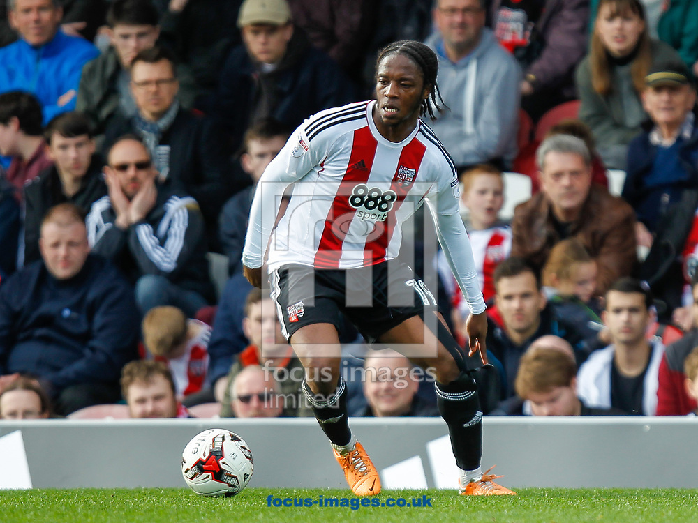 Romaine Sawyers of Brentford during the Sky Bet Championship match between Brentford and Bristol City at Griffin Park, London<br /> Picture by Mark D Fuller/Focus Images Ltd +44 7774 216216<br /> 01/04/2017