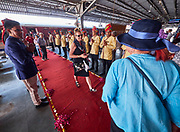 India, Madhya Pradesh. Khajuraho station. Maharajas' Express luxury train. Passengers leaving the train to join the excursion.