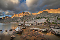 Evening light over Titcomb Basin, Bridger Wilderness, Wind River Range Wyoming
