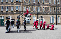 The 1,200 performers that will take part in the 2016 Royal Edinburgh Military Tattoo come together for the first time to rehearse.<br /> <br /> Pictured: The Imps leap over His Majesty The King's Guard from Norway